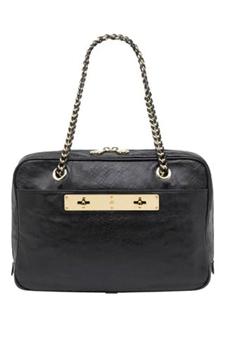 Carter Double Handle Bag in Black Snake Embossed Leather, $1,550