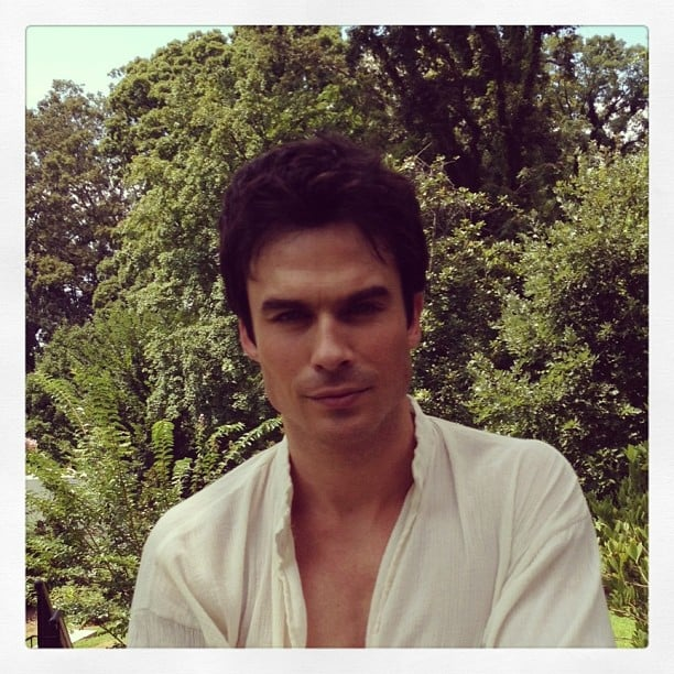 Ian Somerhalder gave his usual sexy stare on the set of The Vampire Diaries. Source: Instagram user entertainmentweekly