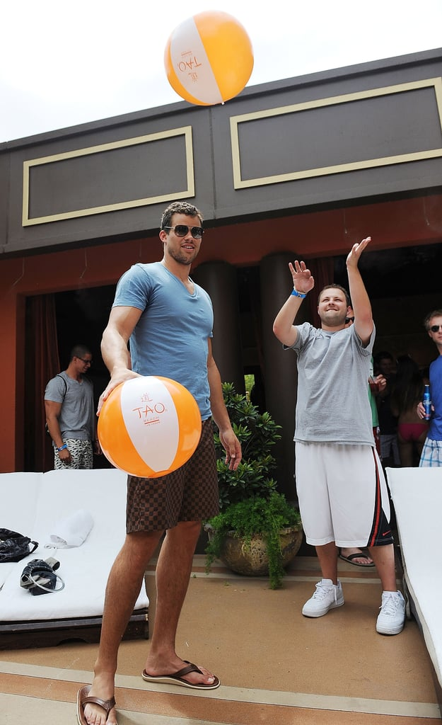 Kris Humphries hung out in his personal cabana with friends.