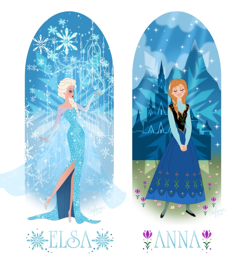 Anna and Elsa With Their Castles