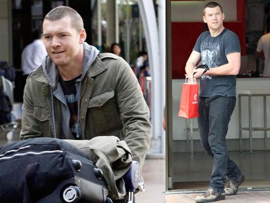 Photos of Sam Worthington Returning to Sydney With Lots of Luggage