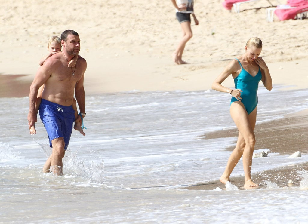 Naomi Watts and Liev Schreiber swam in the waves off the coast of Barbados with their sons, Samuel and Sasha.