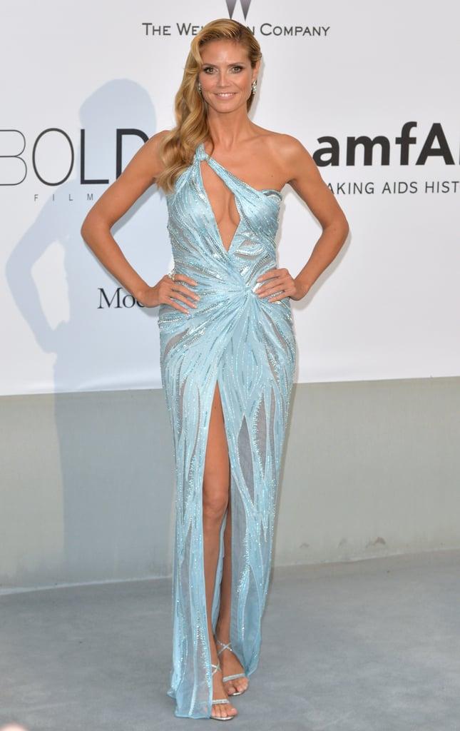 Heidi Klum in a Blue Atelier Versace at the 2014 amfAR Gala