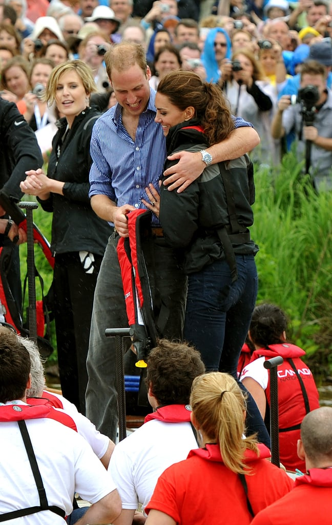 William gave Kate a squeeze after beating her in a Dragon Boat race while touring Canada in July 2011.