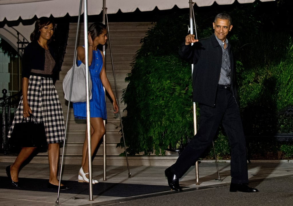 Michelle Obama worked a ladylike Tracy Reese combo frock when departing the white house with daughter Malia and the president.