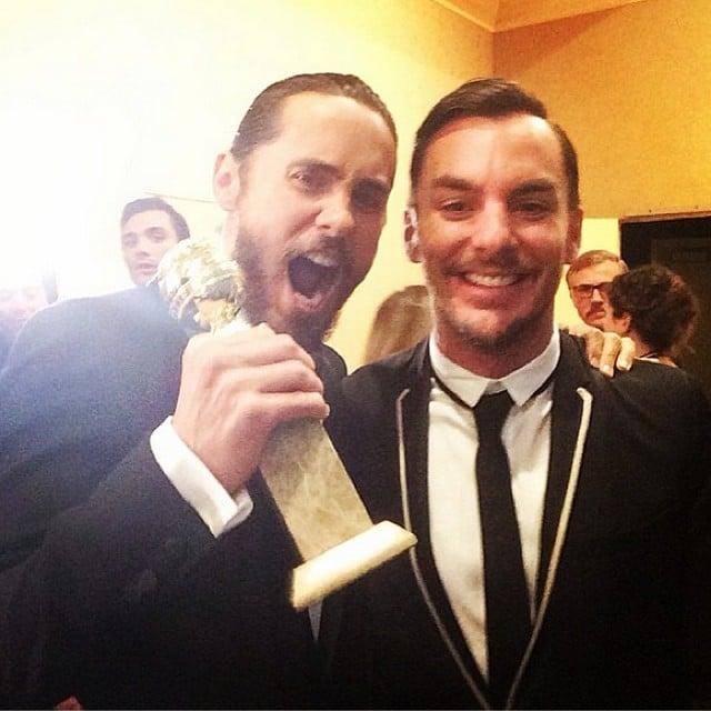 Jared Leto and Shannon Leto celebrated backstage at the Golden Globes. Source: Instagram user 30secondstomars