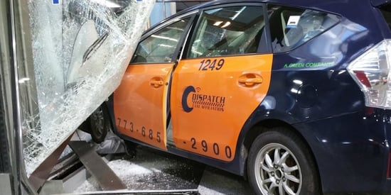 Taxi Slams Into Terminal 3 Entrance At Chicago O'Hare International Airport