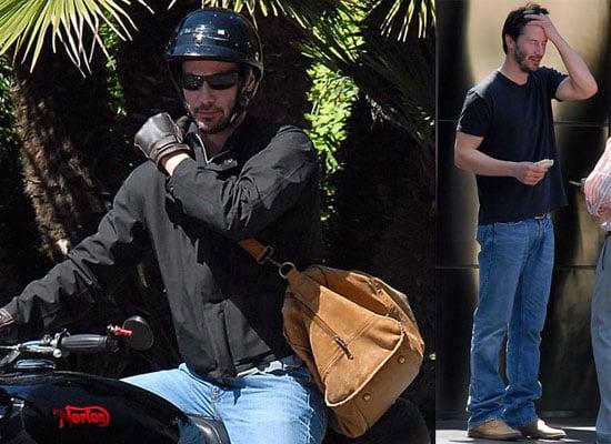Keanu Reeves Rides His Motorcycle in LA, Gets a Package
