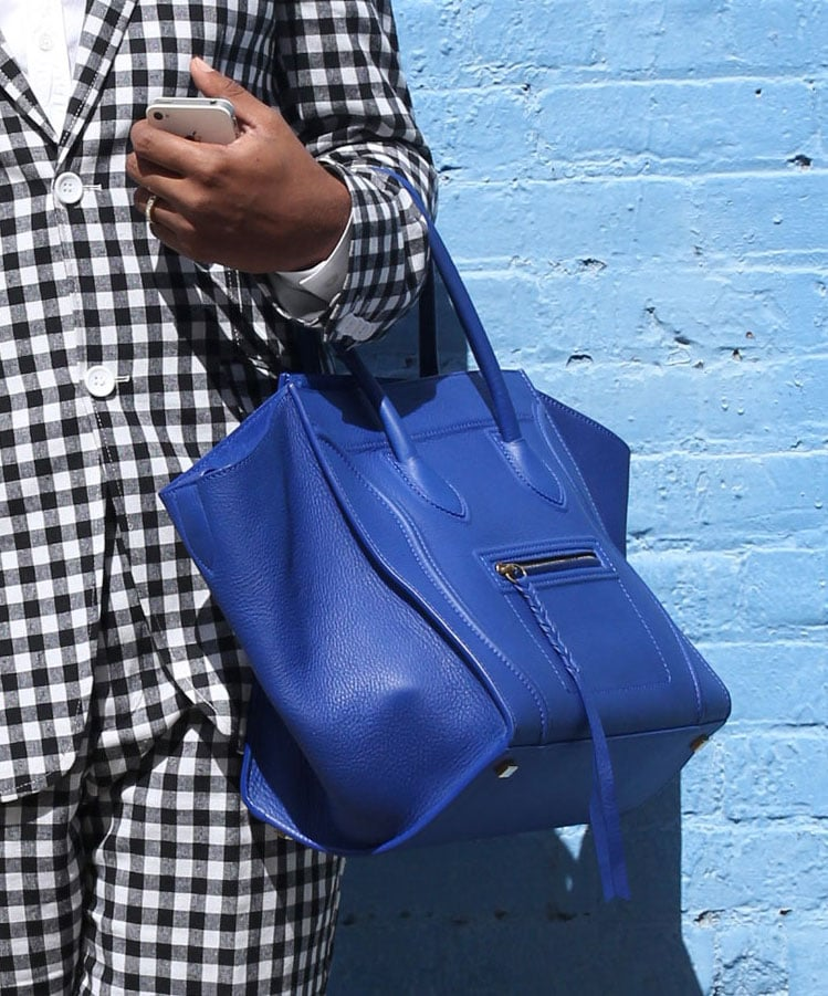 A pop of blue on this Céline added new dimension to a gingham suit. Source: Greg Kessler