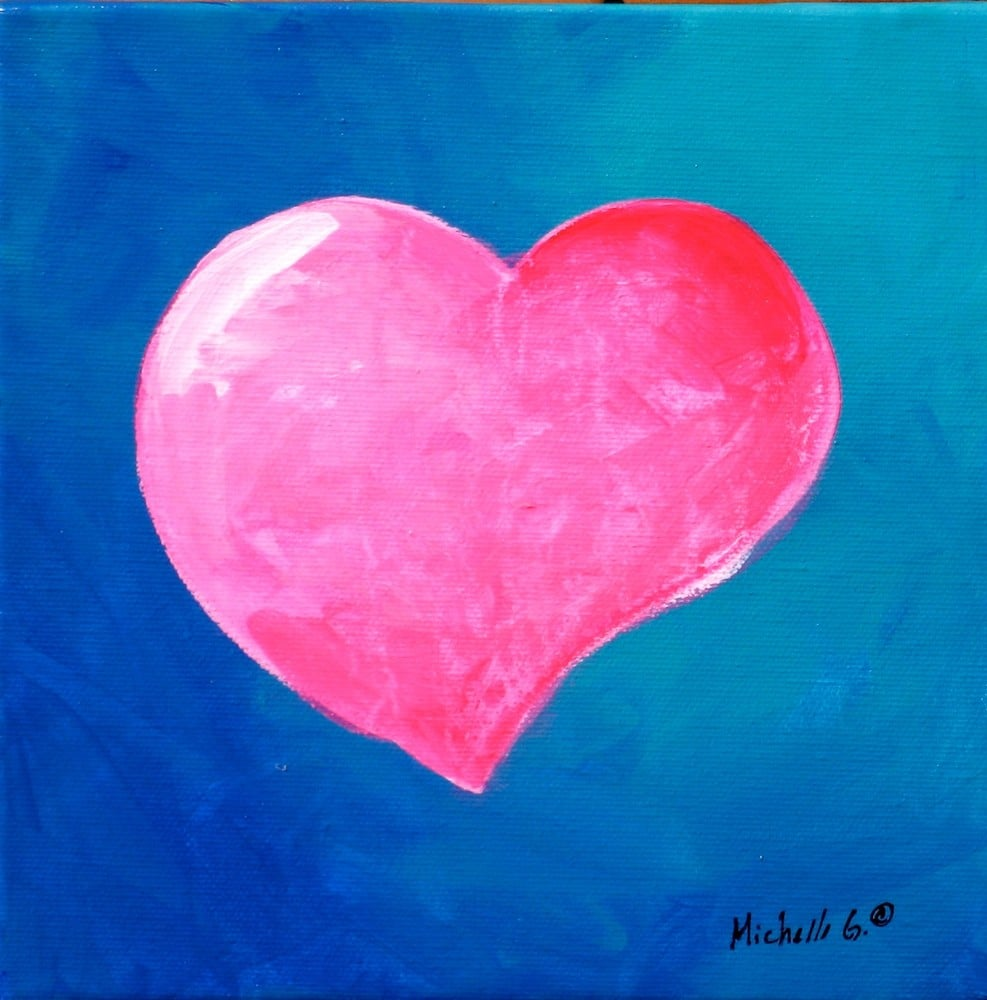 Add a bold splash of color to his or her room with this bright heart canvas art ($95).