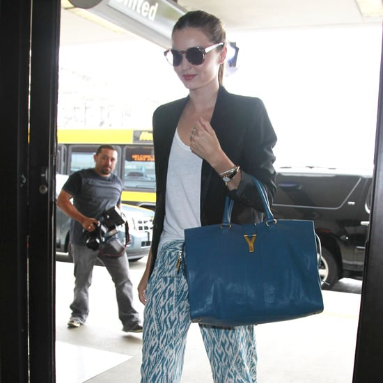 Miranda Kerr Blue Printed Wide-Leg Pants
