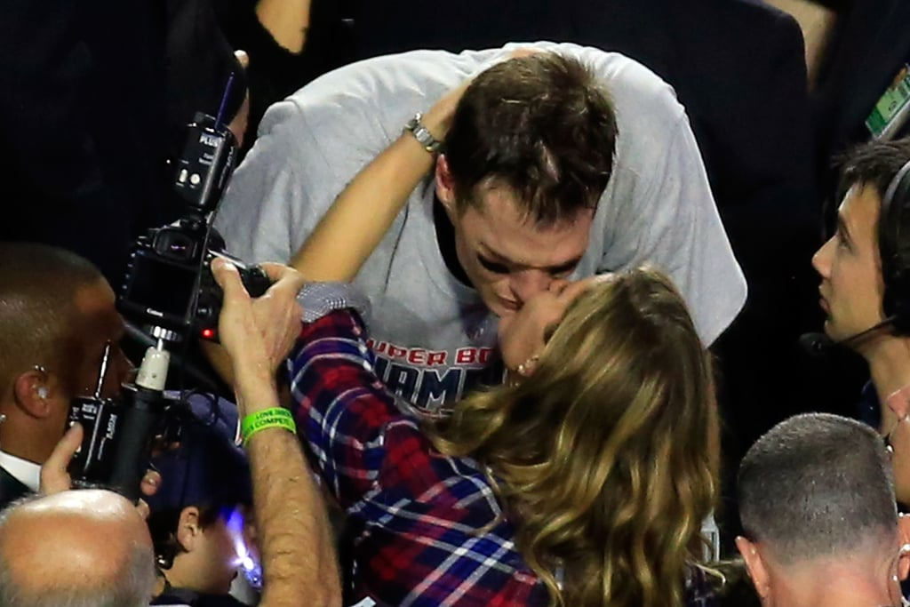 Gisele gave Tom a congratulatory smooch after he and the Patriots won the Super Bowl in February 2015.