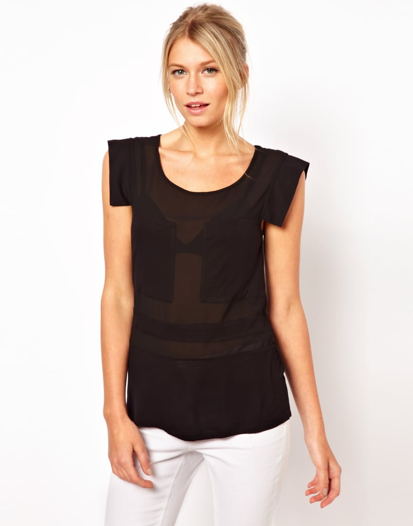 What's better for wearing out at night than a black top and jeans? We love the subtle sheer panels on this ASOS Blocked Sheer Top ($37).