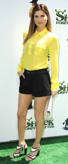 Lake Bell in Yellow Blouse and Black and White Shoes at the LA premiere of Shrek Forever After