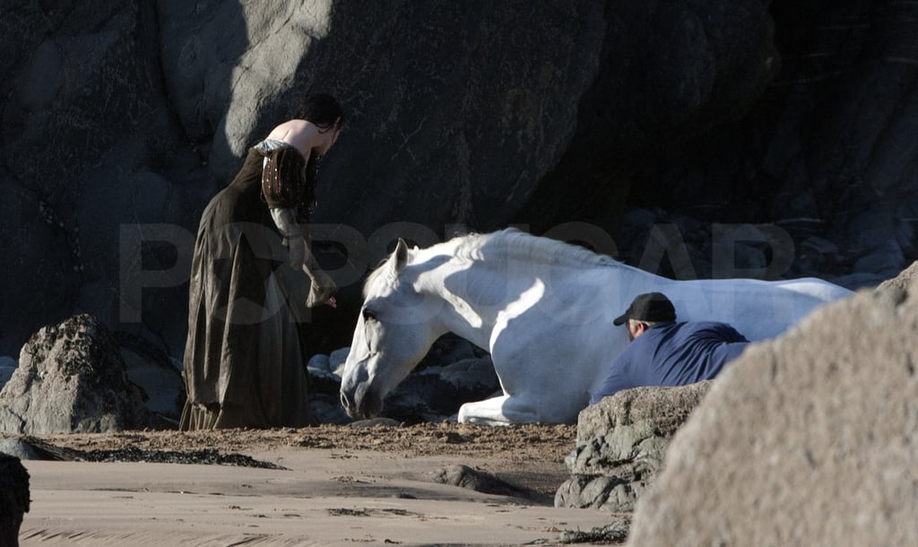 Kristen's horse knelt down on the ground for a scene.
