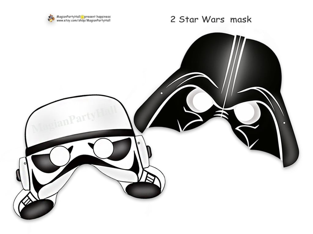 Represent the Empire's side with Darth Vader and Stormtrooper masks ($3).