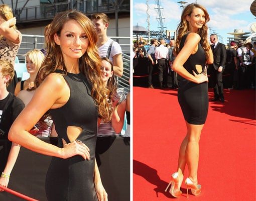 Pictures of Ricki-Lee Coulter in White Suede Black Dress and Yves Saint Laurent Nude Heels at the 2011 ARIA Awards