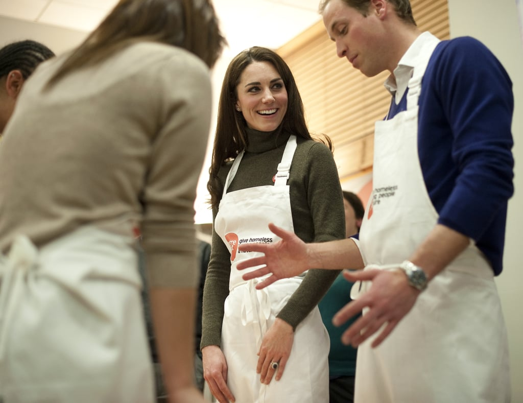 Kate and William wore matching aprons during a cooking session at Centrepoint's Camberwell Foyer in London in Dec. 2011.