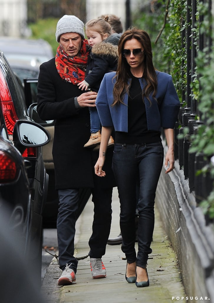 David and Victoria Beckham went for a walk with Harper.