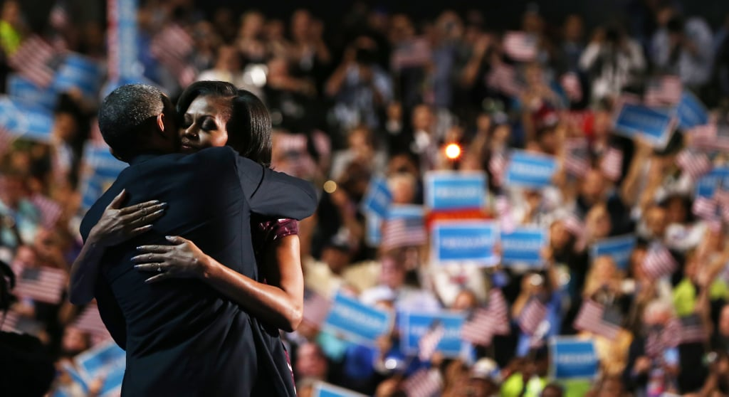 Michelle and Barack embraced on stage at the Democratic National Convention.
