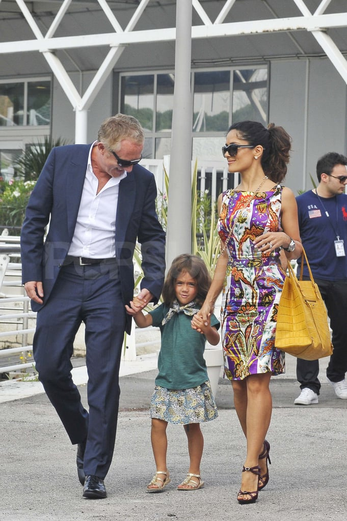 Salma Hayek and Francois-Henri Pinault arrive in Venice with Valentina.