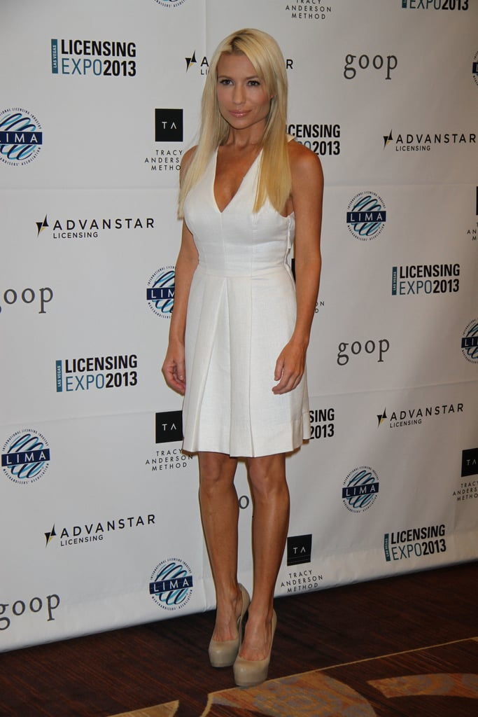 Tracy Anderson wore a white dress and neutral-colored shoes to the event on Tuesday.