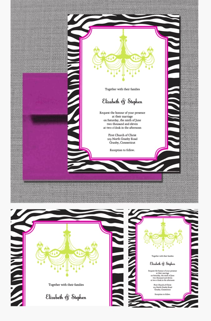 Zebra-Print and Chandelier Wedding Invitation