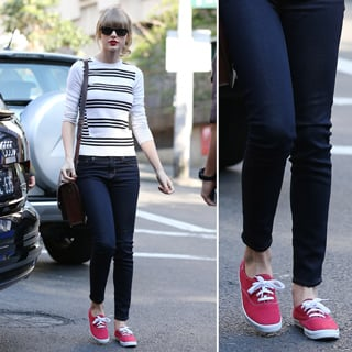 Shoe Trend: Taylor Swift Red Keds In Sydney; Red Shoes