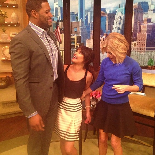Michael Strahan and Kelly Ripa both towered over Lea Michele. Source: Instagram user msleamichele