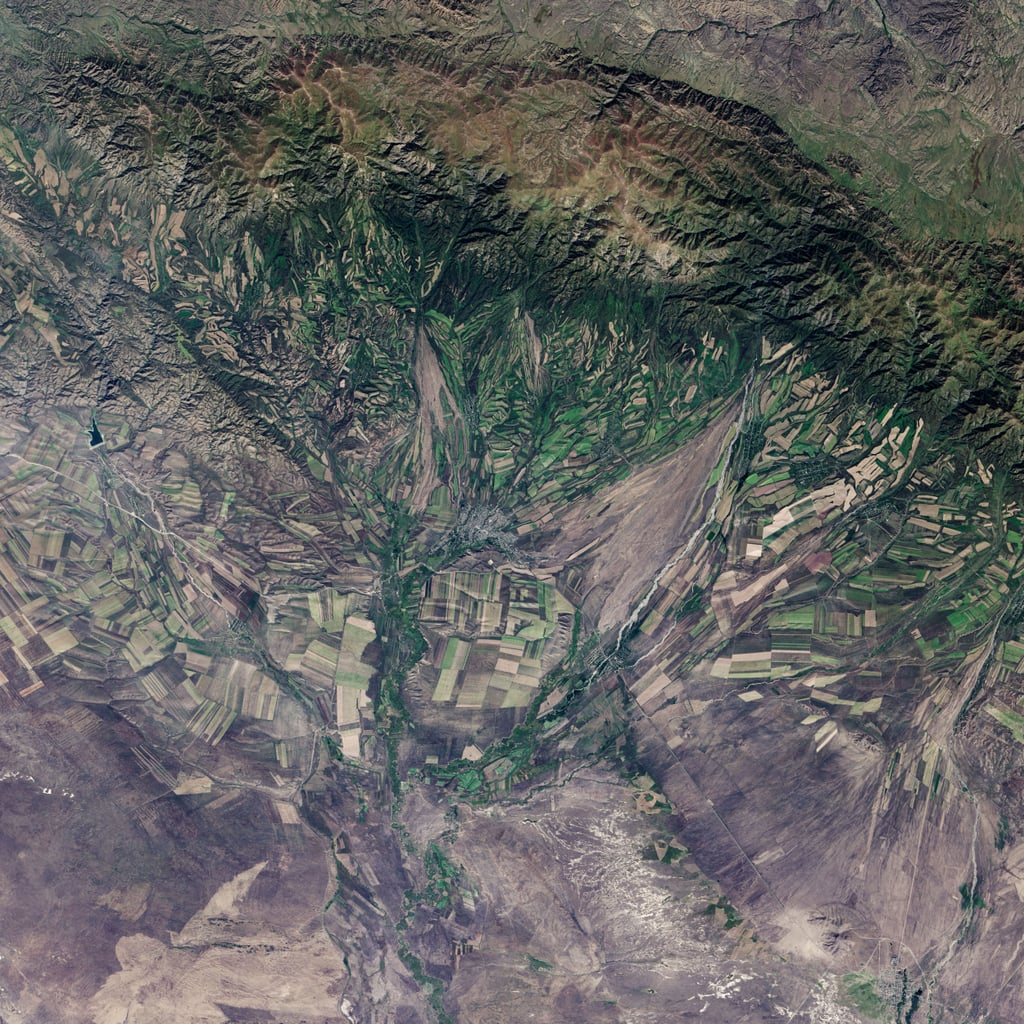 Has a photo of land ever looked prettier? You're looking at the harvest of eastern Kazakhstan taken Sep. 9, 2013, from the Landsat 8 satellite. We see several fields that are already harvested and bare and others that are dark green with pasture grasses or ripening crops.  Source: NASA