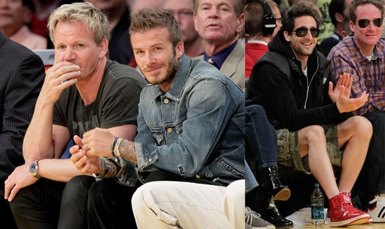 Photos of David Beckham, Gordon Ramsay and Adrien Brody At a Lakers Game in LA 2010-04-12 12:30:00