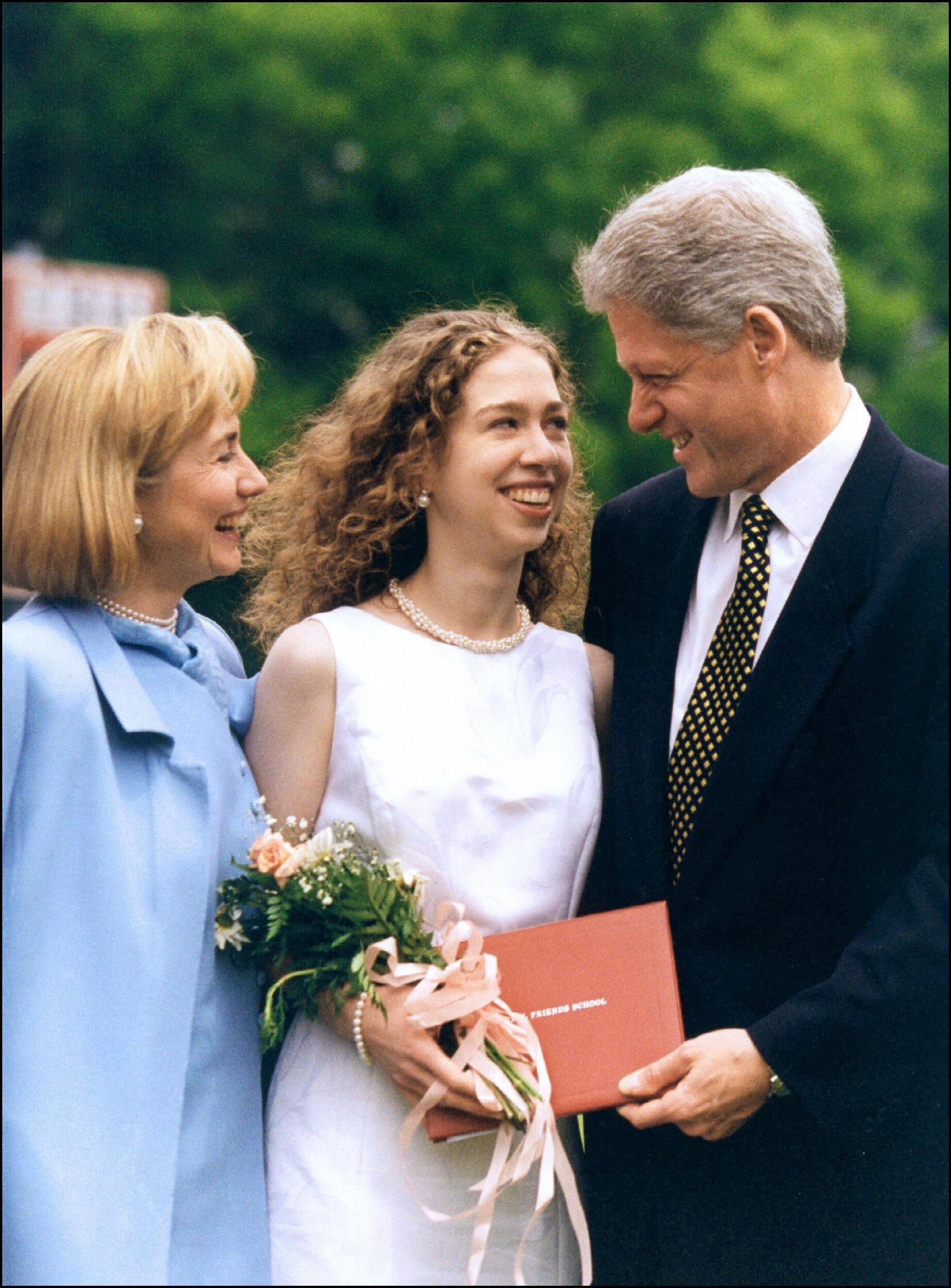First Lady Hillary, Chelsea, and President Bill Clinton, 1997