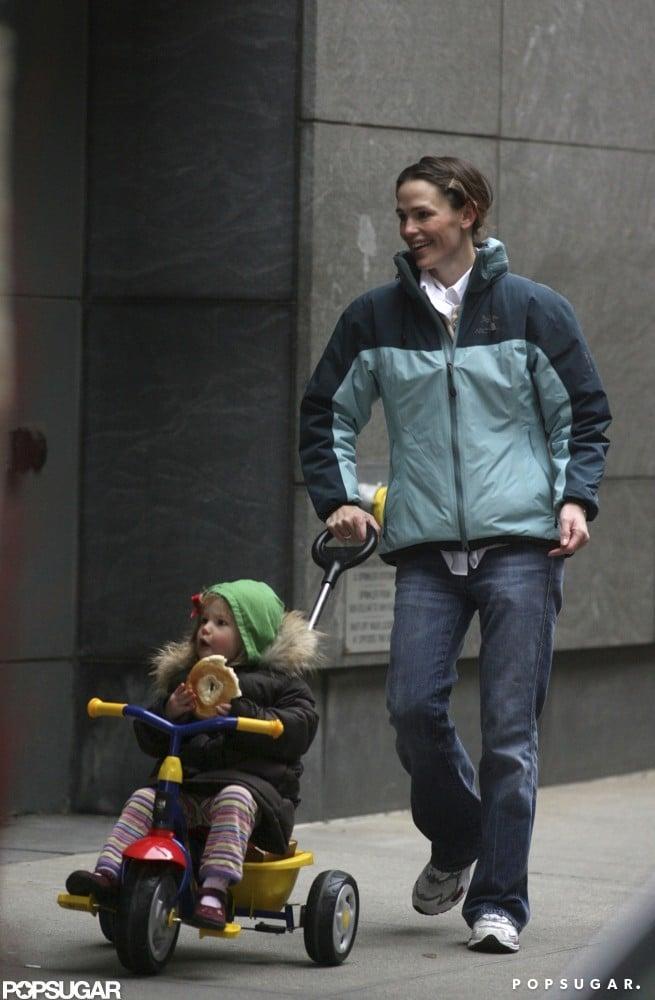 Jennifer Garner pushed Violet Affleck along in a stroller during a trip to Boston in December 2007.