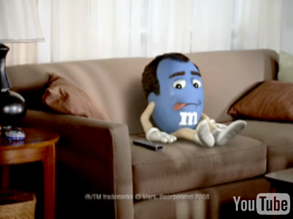 M&M Licks Itself in Television Commercial