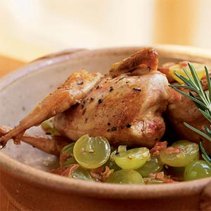 Sunday Dinner: Quail with Grapes and Grappa
