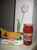 Corn and Roasted Red Pepper Rainbow Soup