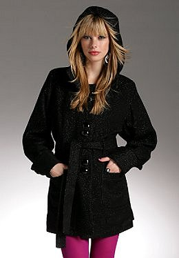 Justsweet by JLo: Hooded Lurex Coat W/ Belt