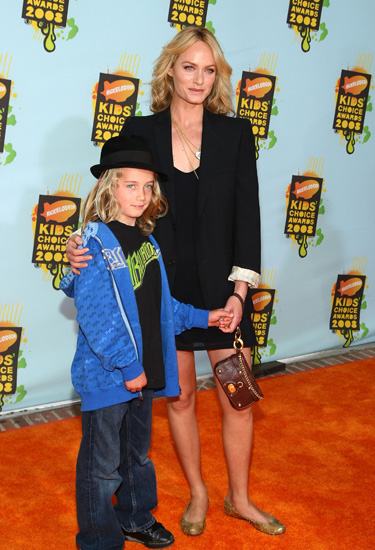 Amber Valletta and son Auden at Nickelodeon Kids' Choice Awards.