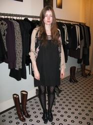 A Streetstyle Outfit Using Ecco Domani Winner Lyell's Scallop Black Dress in Nolita