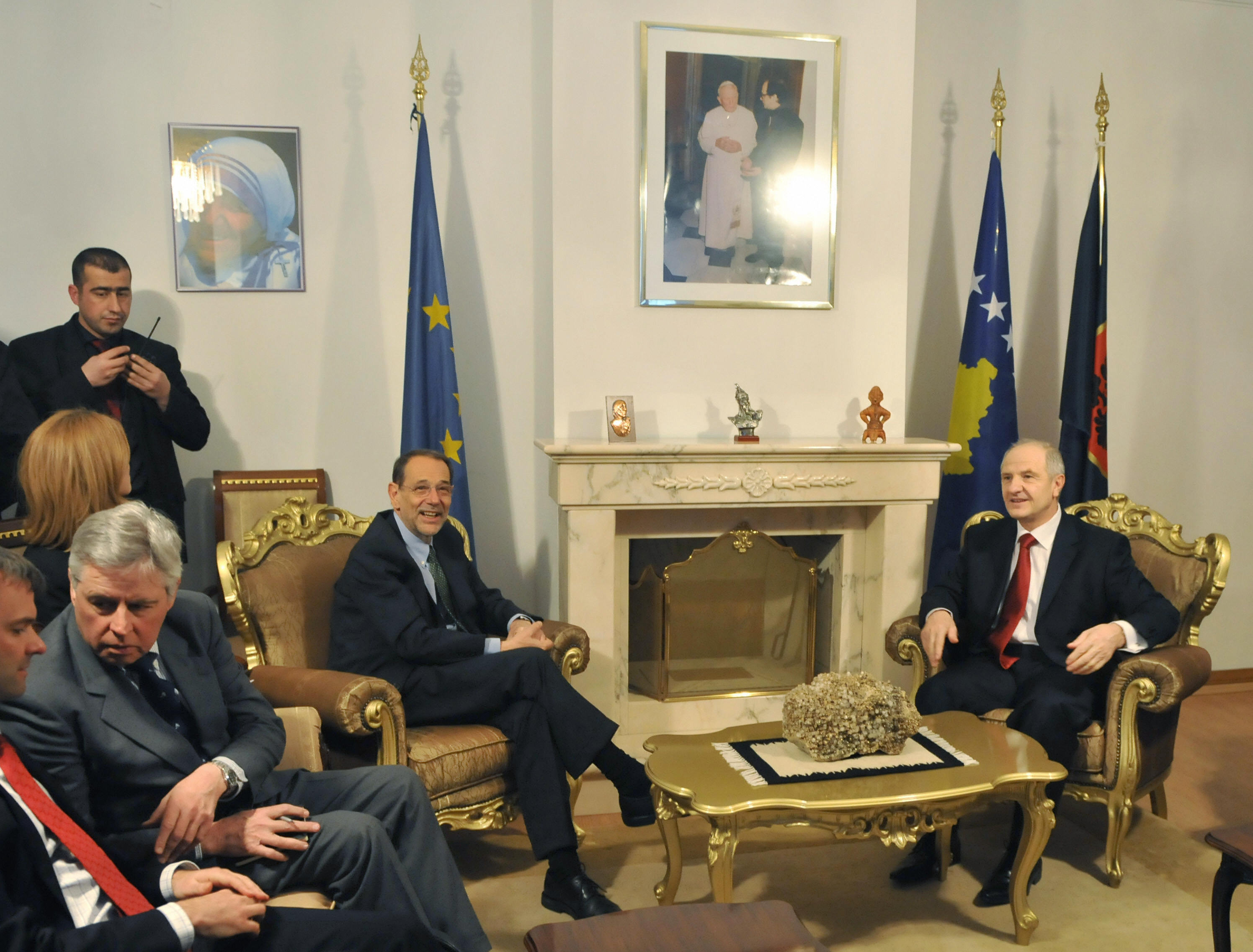 Javier Solana (left), the European Union's high representative for foreign and security policy, meets Kosovo's president.