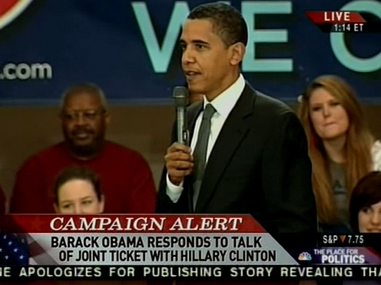 Obama Says No to Dream Ticket