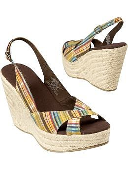 Women's Clothes: Women's Plaid Slingback Wedges: Road Trip | Old Navy
