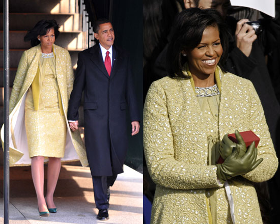 Michelle Obama in Yellow Isabel Toledo at the 2009 Presidential Inauguration