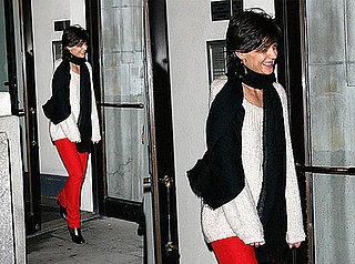 Katie Holmes Exits Her NYC Apartment in Red Skinny Jeans