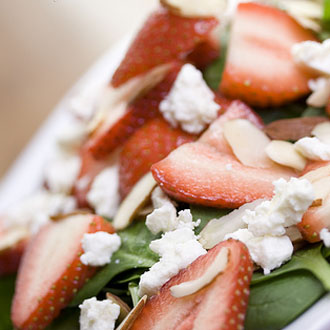 Spring Lettuces With Strawberries and Feta