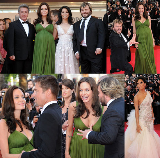 Pregnant Angelina Jolie, Brad Pitt, Jack Black, Eva Longoria, Dustin Hoffman at Kung Fu Panda Cannes Premiere