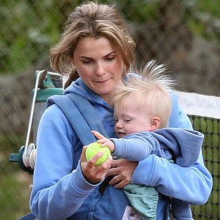 Keri Russell and Son River Play with a Tennis Ball