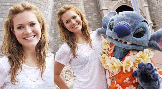 Photos of Mandy Moore in Disney World with Stitch