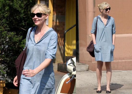 Photos of How to Lose Friends and Alienate People's Kirsten Dunst Walking in NYC
