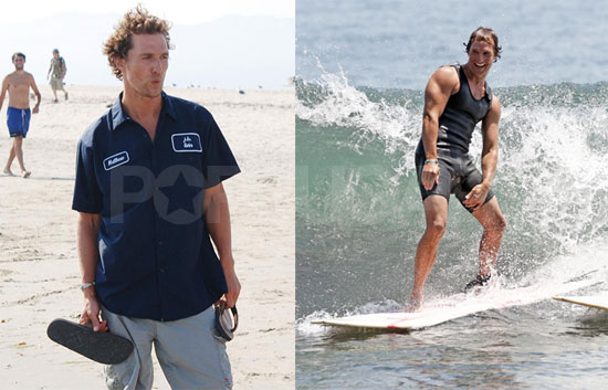 Photos of Shirtless Matthew McConaughey Surfing and Posing With Fans